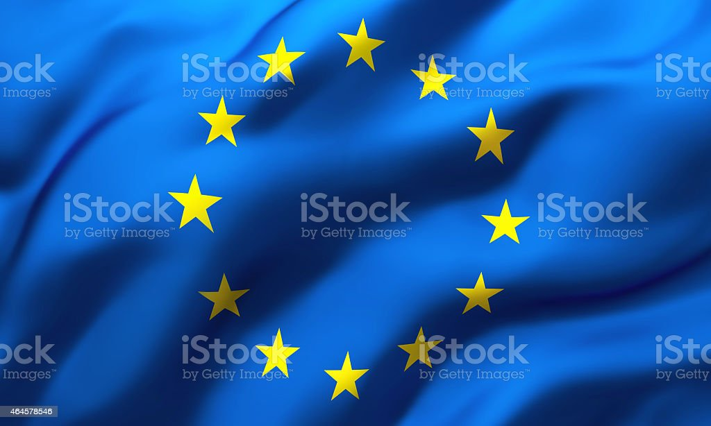 Waving flag of European Union stock photo