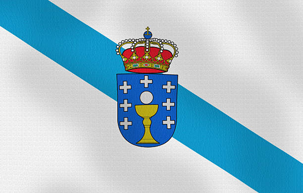 Waving Flag of Galicia Spain Series Digitally created image of a waving national flag.  galicia stock pictures, royalty-free photos & images
