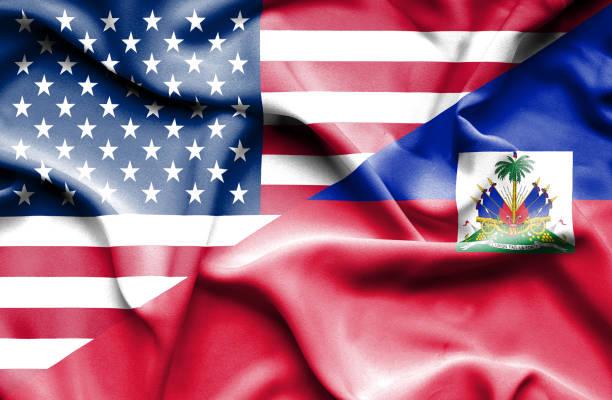 Waving flag of Haiti and USA Waving flag of Haiti and USA Haiti Flag stock pictures, royalty-free photos & images