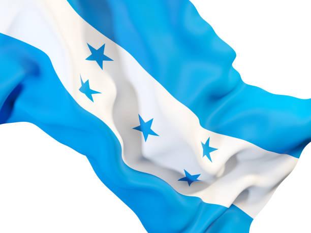 agitando bandera de honduras - bandera de honduras fotografías e imágenes de stock