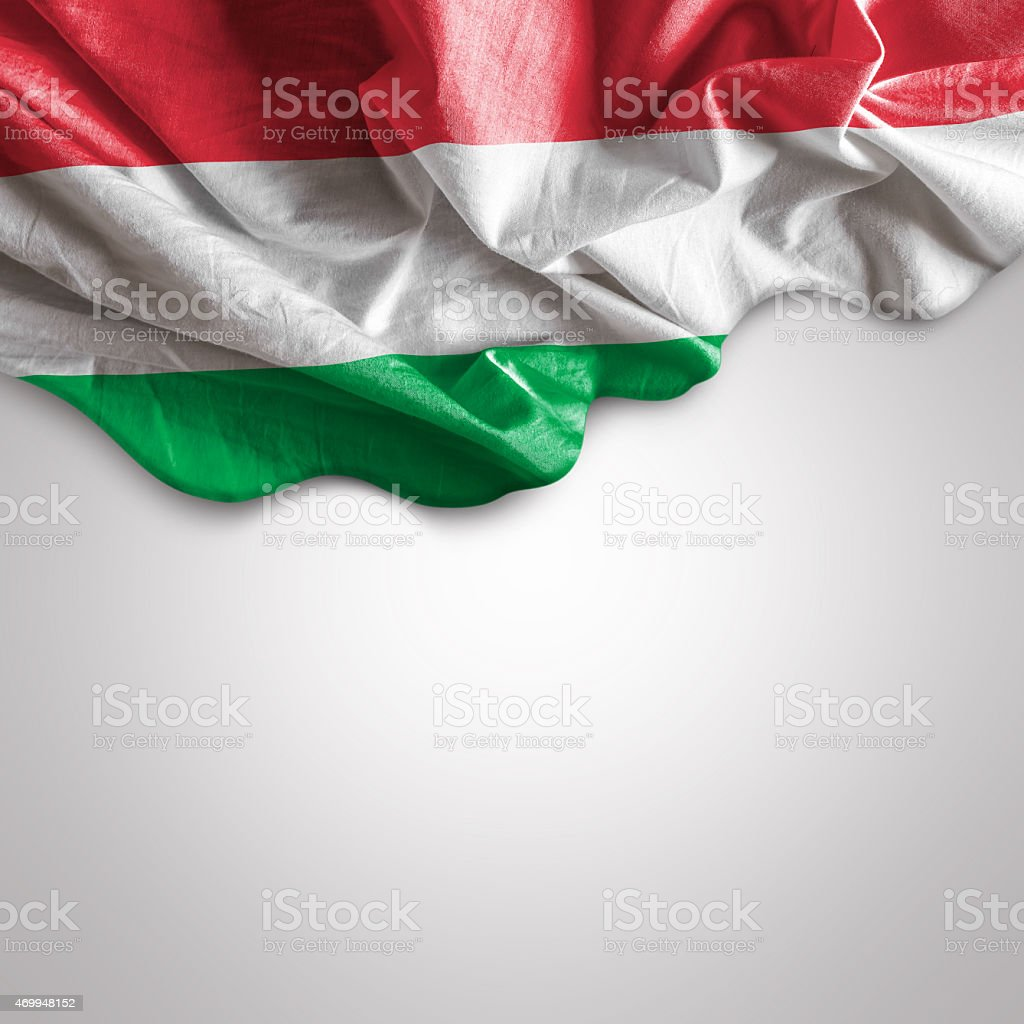 Waving flag of Hungary stock photo