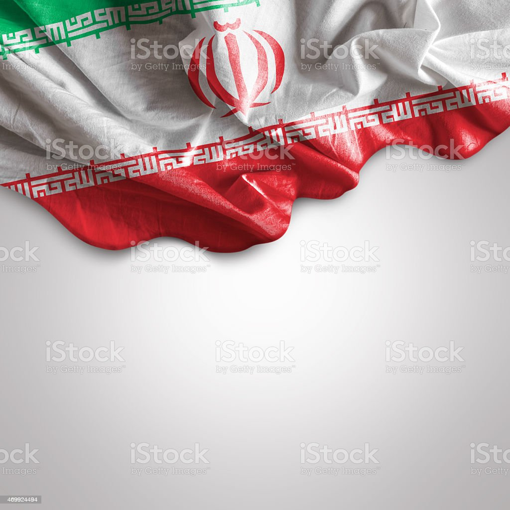 Waving flag of Iran stock photo