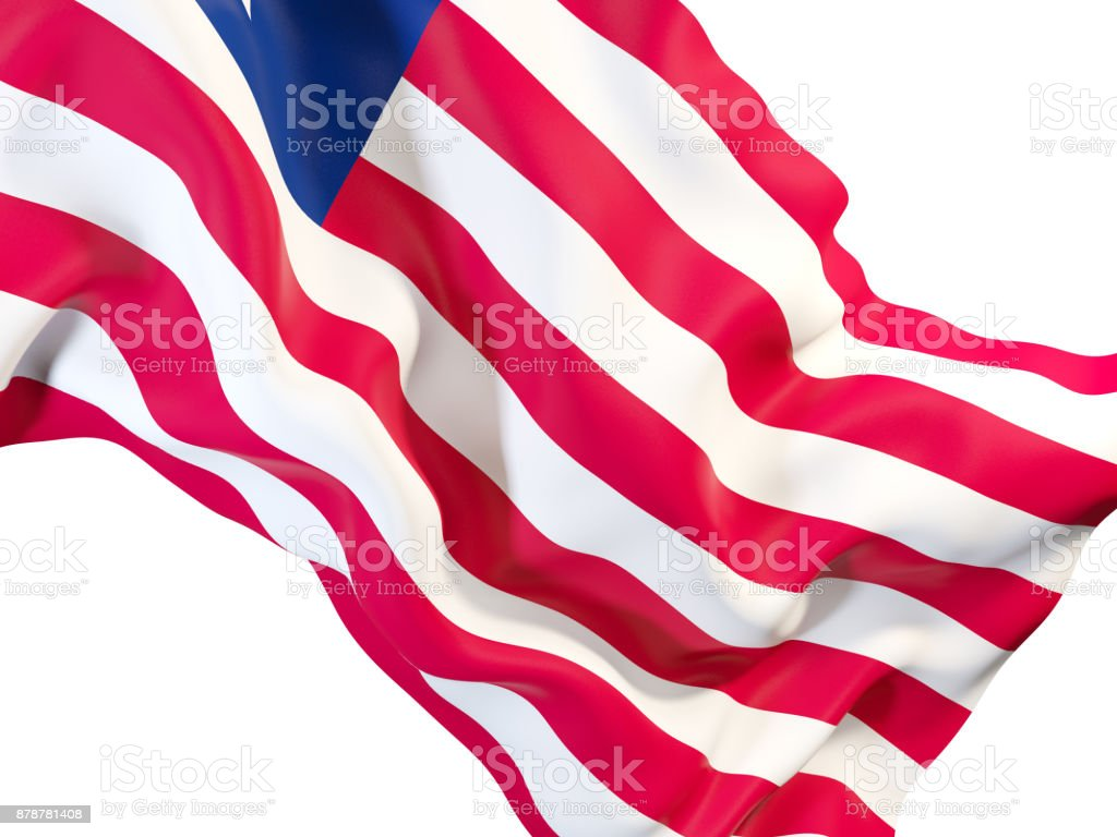 Waving flag of liberia stock photo