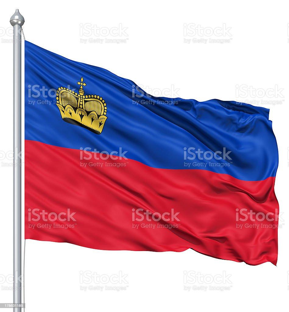 Waving flag of Liechtenstein royalty-free stock photo