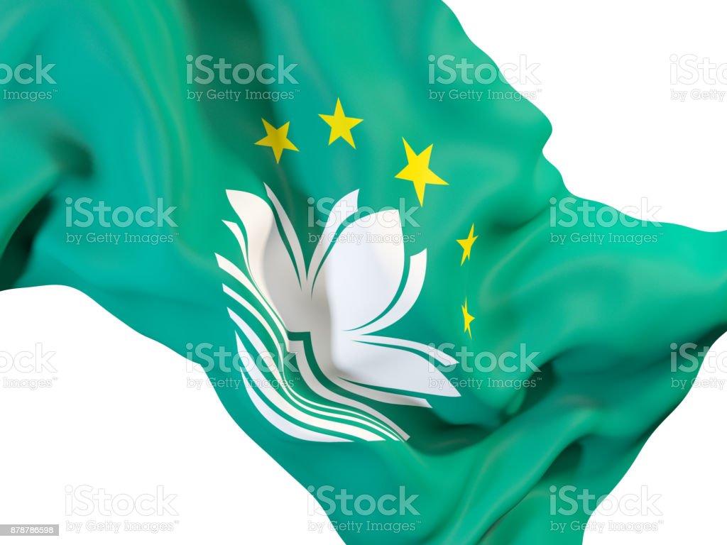 Waving flag of macao stock photo