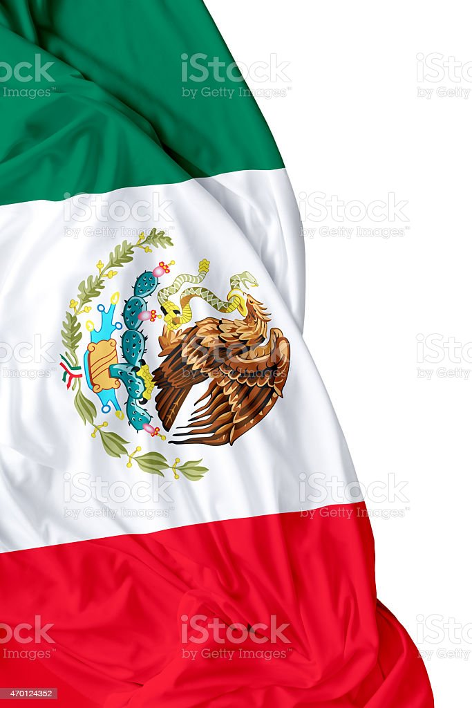 Waving flag of Mexico on white background stock photo