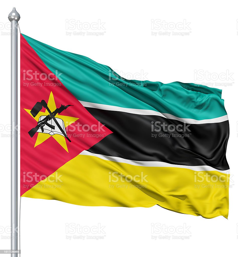 Waving flag of Mozambique royalty-free stock photo