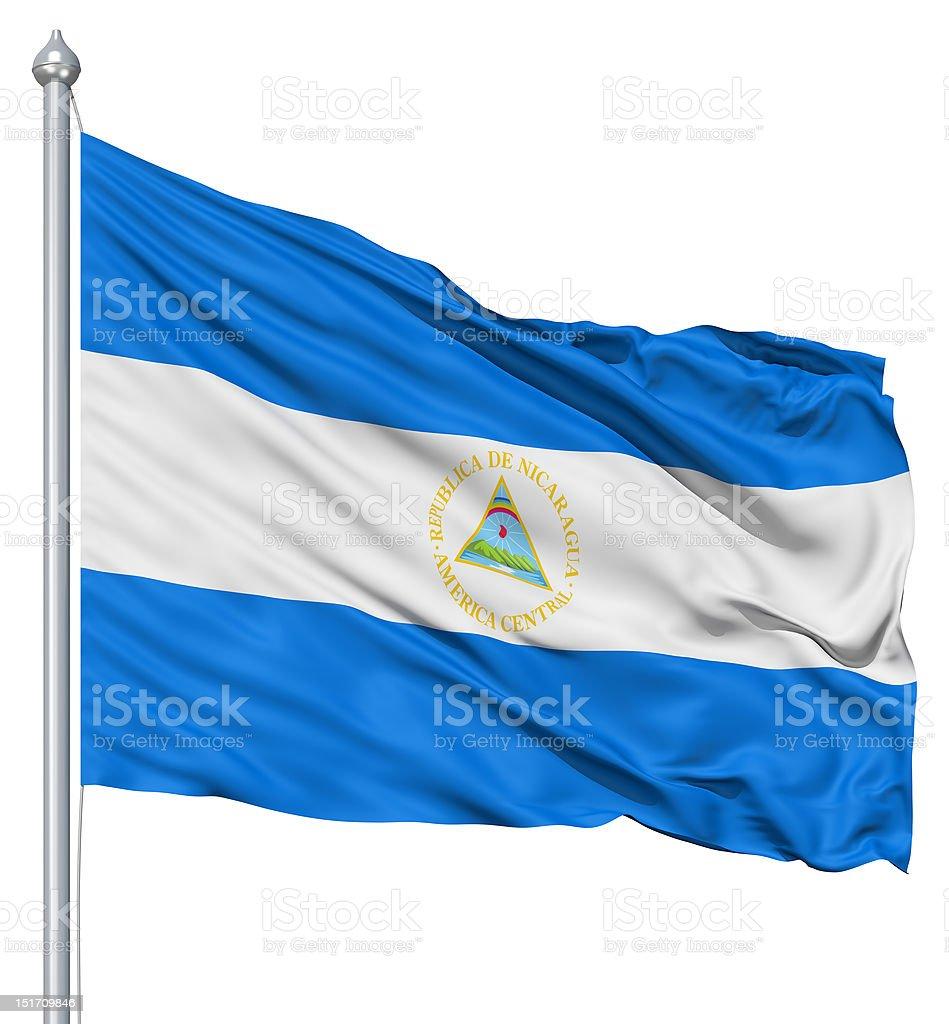 Waving flag of Nicaragua royalty-free stock photo