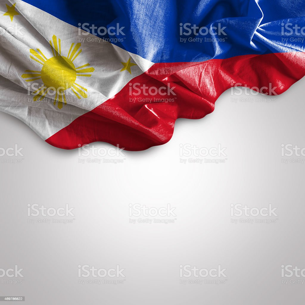 Waving flag of Philippines stock photo