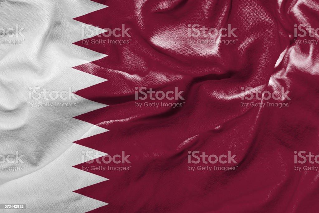 Agitando bandera de Qatar - foto de stock