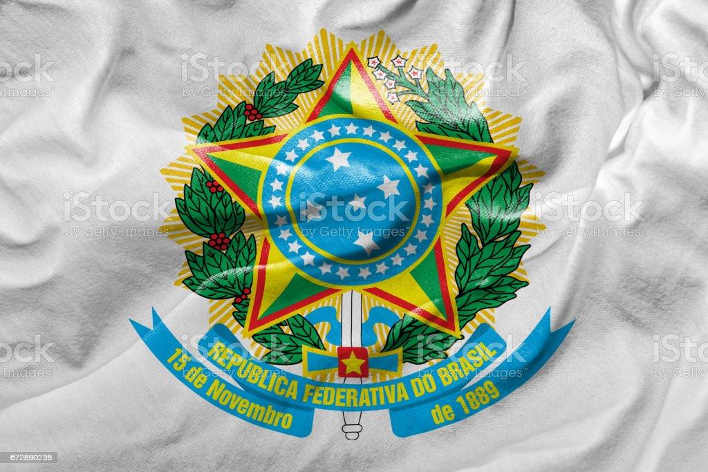 Waving Flag of Republic of Brazil stock photo