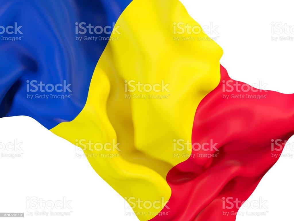 Waving flag of romania stock photo