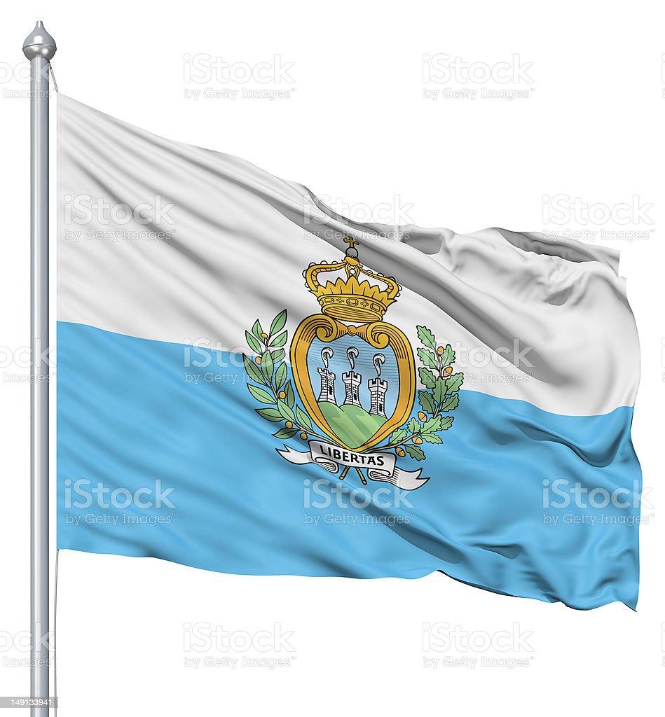 Waving flag of San Marino royalty-free stock photo