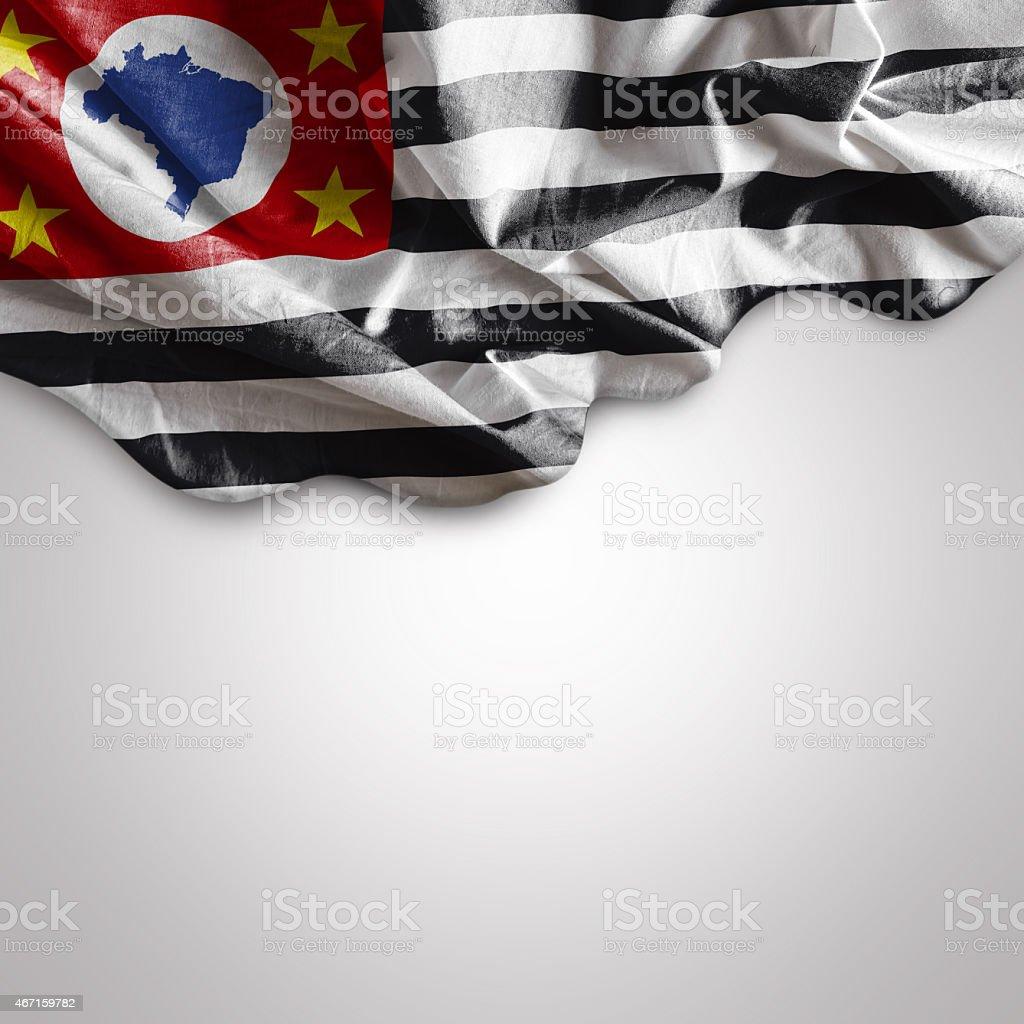 Waving flag of Sao Paulo, Brazil stock photo