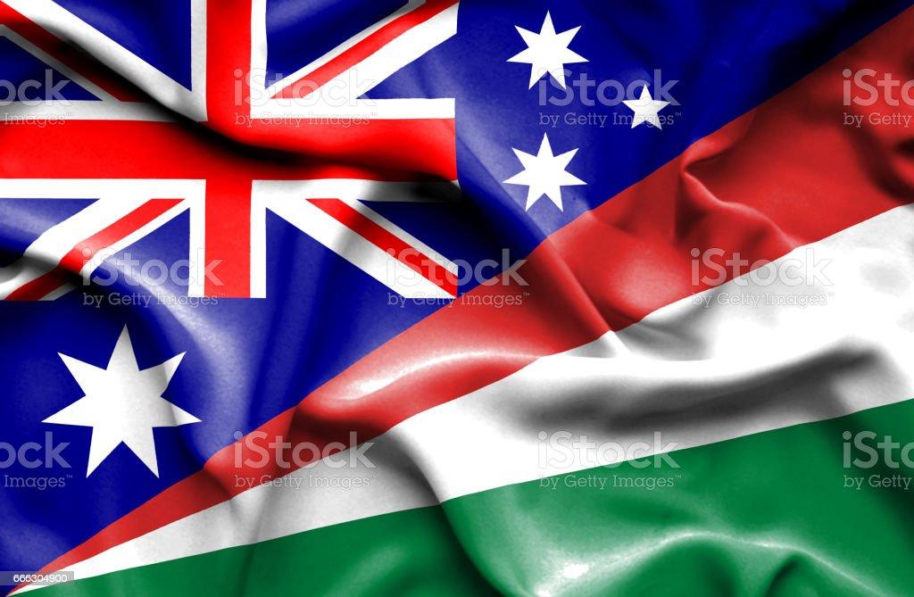 Waving flag of Seychelles and Australia stock photo