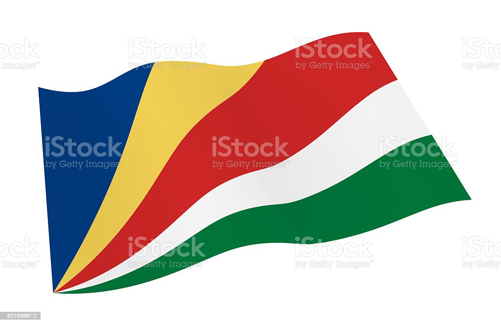 Waving flag of Seychelles. stock photo