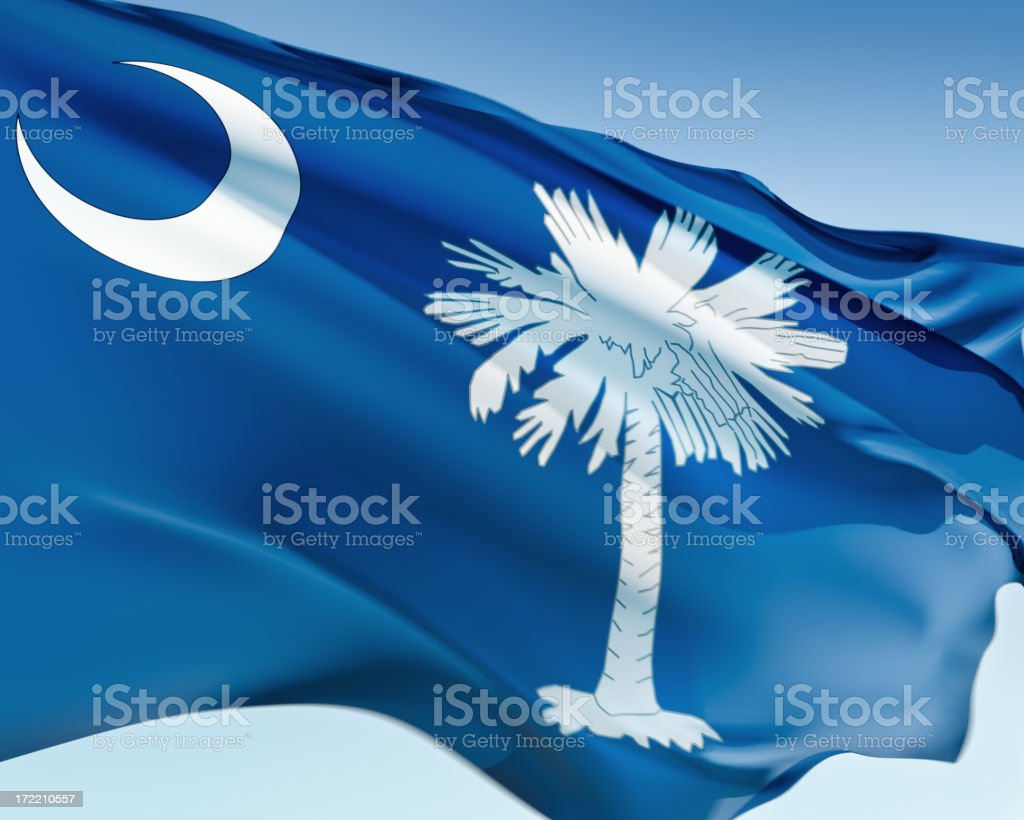 A waving flag of South Carolina royalty-free stock photo