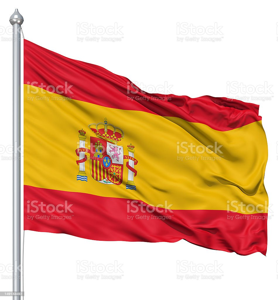 Waving flag of Spain royalty-free stock photo