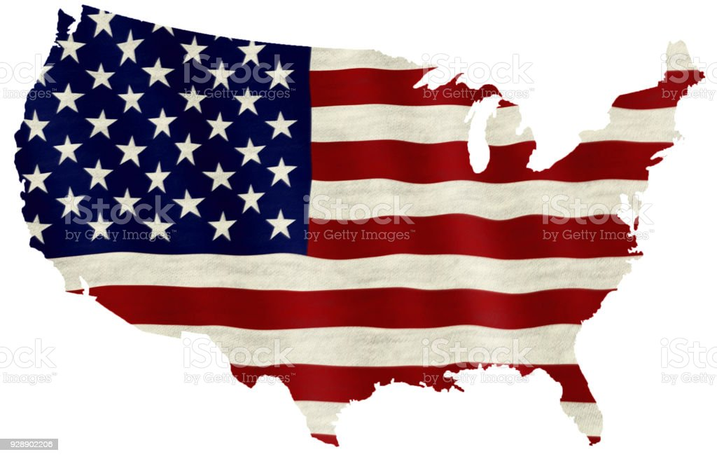 Waving flag of the United States of America overlaid on detailed outline map isolated on white background stock photo