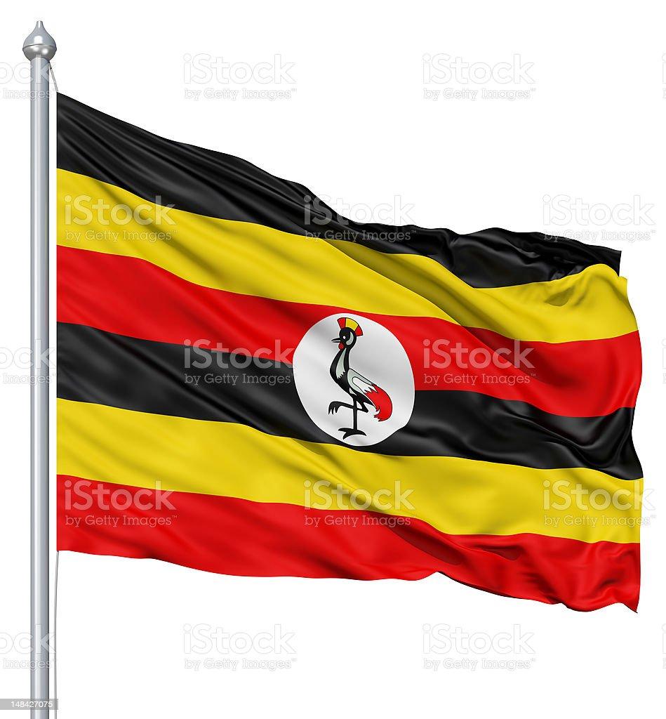 Waving flag of Uganda royalty-free stock photo