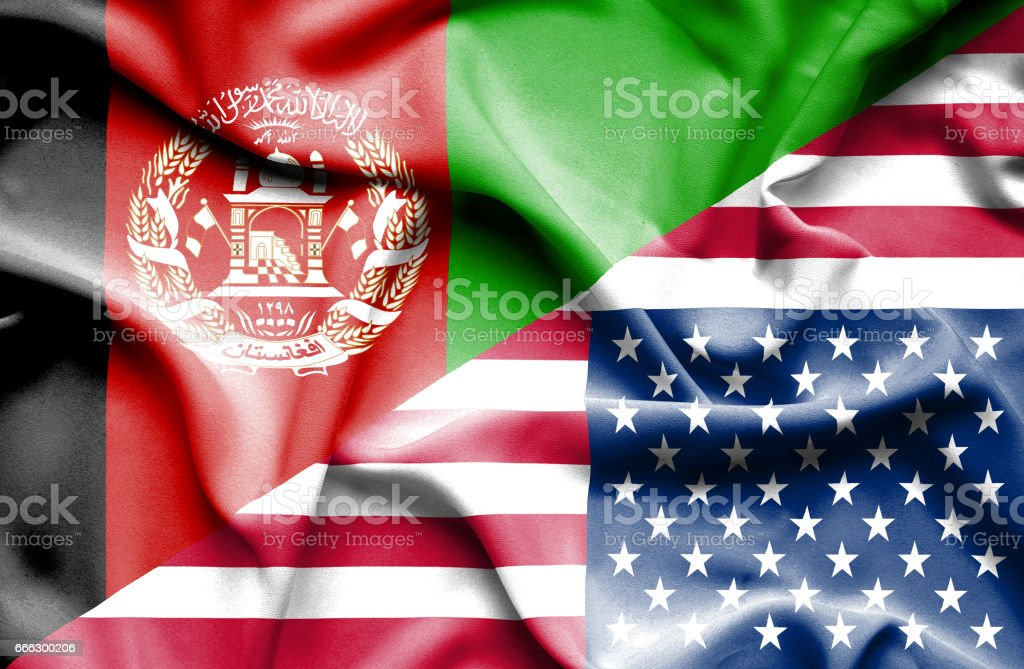 Waving flag of United States of America and Afghanistan stock photo