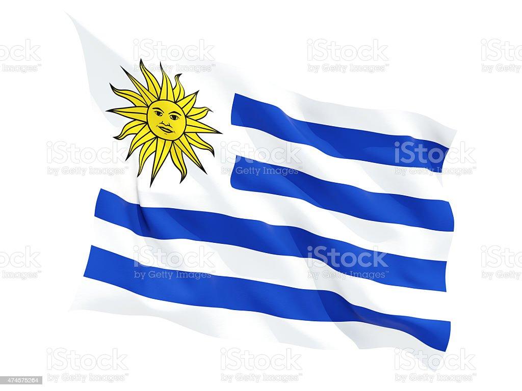 Agitando bandera de uruguay - foto de stock