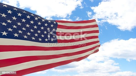istock Waving flag of USA 694562644