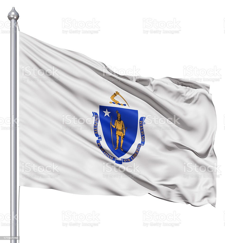 Waving Flag of USA state Massachusetts stock photo