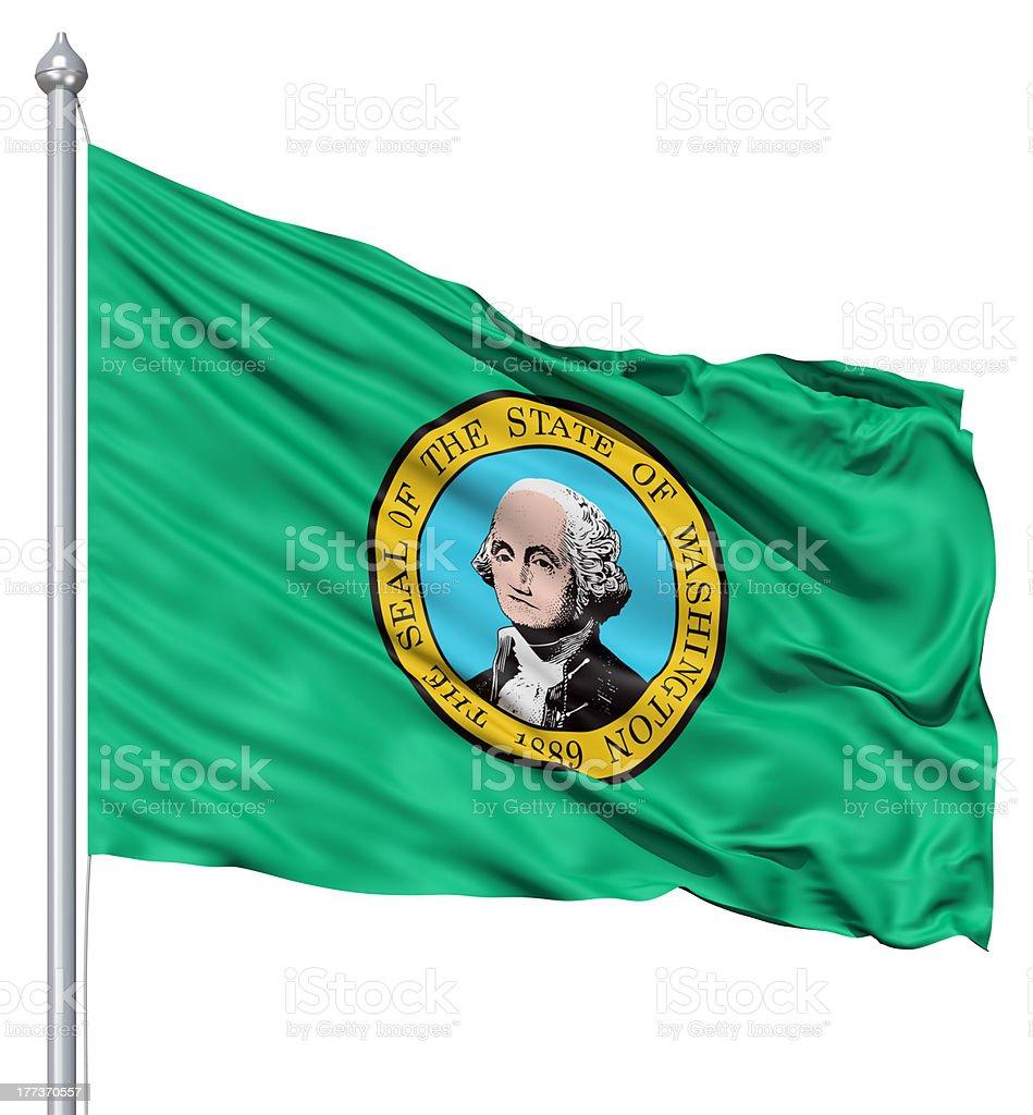 Waving Flag of USA state Washington stock photo