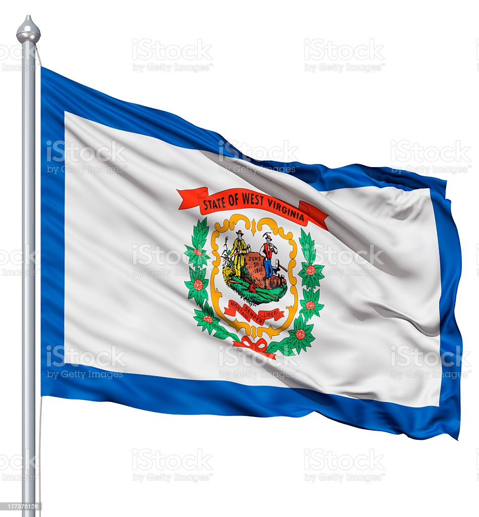 Waving Flag of USA state West Virginia royalty-free stock photo