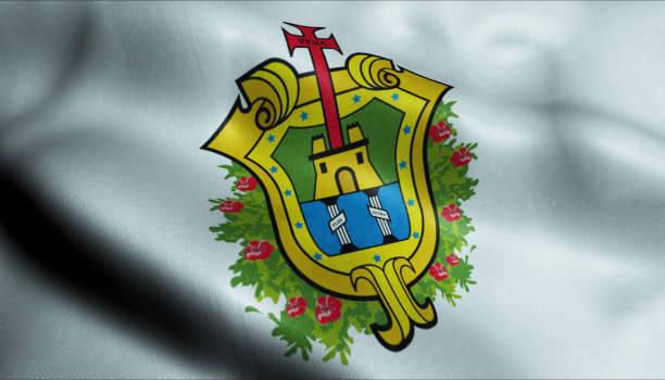 3D Waving Flag of Veracruz City Closeup View 3D Illustration of a waving flag of Veracruz veracruz stock pictures, royalty-free photos & images