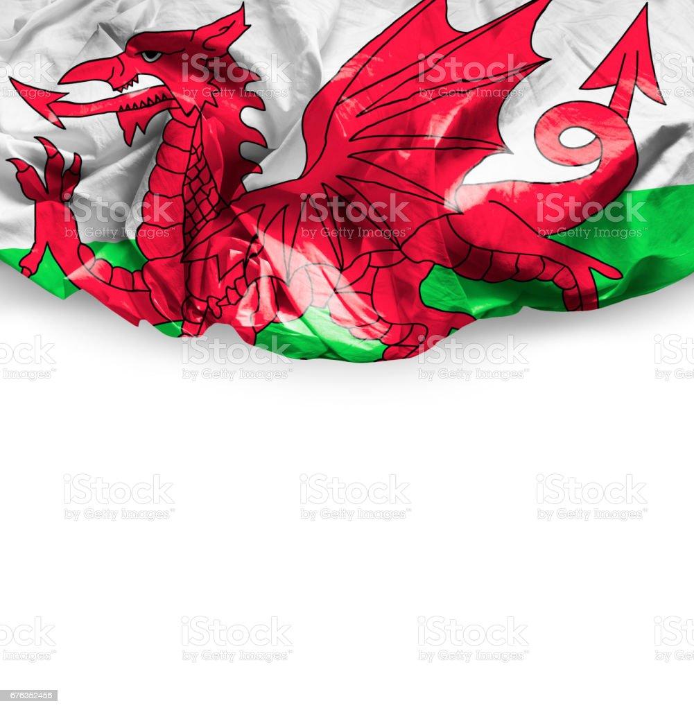 Waving Flag of Wales stock photo