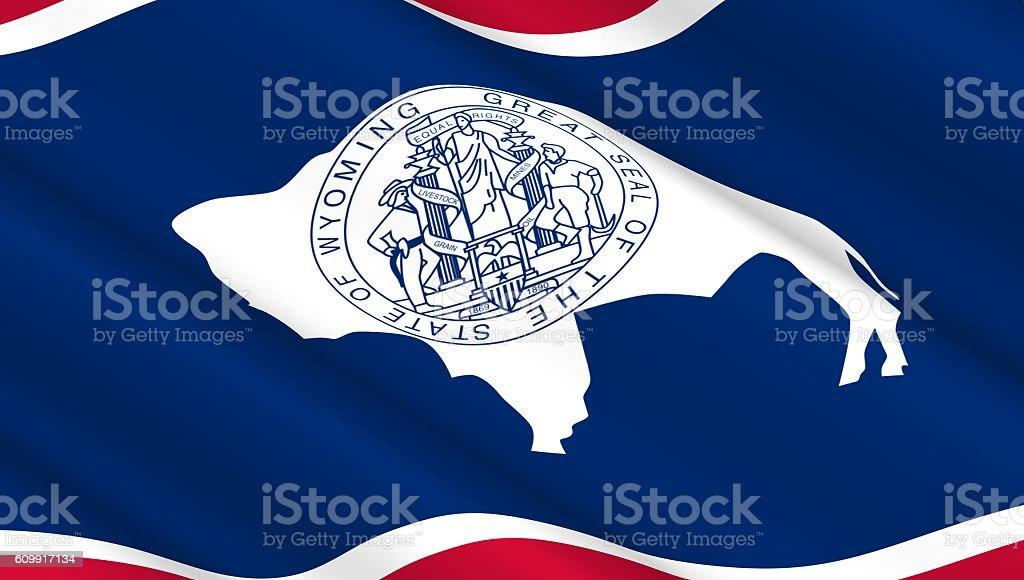 Waving flag of Wyoming state. stock photo