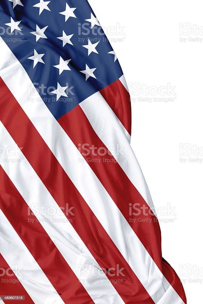 USA waving flag on white background stock photo
