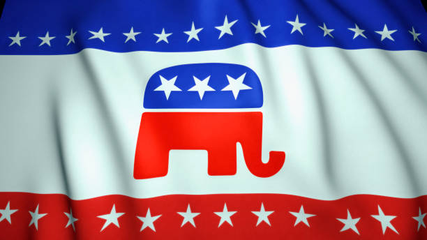 waving flag, us republican party elephant emblem, background, 3d illustration - республиканская партия сша стоковые фото и изображения