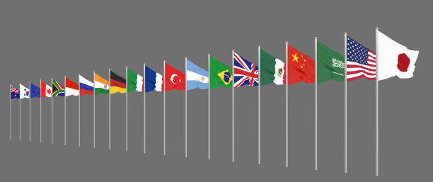 Waving flags countries of members Group of Twenty. Big G20 in Japan in 2020. Isolated on grey. 3d rendering.  Illustration. stock photo