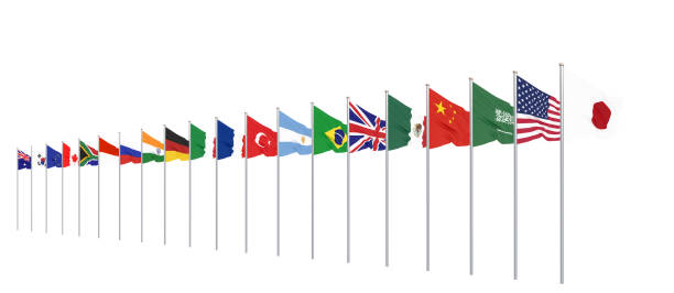 Waving flags countries of members Group of Twenty. Big G20 in Japan in 2020. Isolated on white. 3d rendering.  Illustration. stock photo