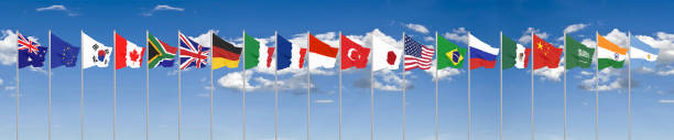 Waving flags countries of members Group of Twenty. Big G20 in Japan in 2020 . Blue sky background. 3d rendering.  Illustration. stock photo