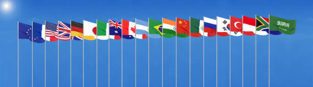 Waving flags countries of members Group of Twenty. . Blue sky background. 3d rendering.  Illustration. stock photo