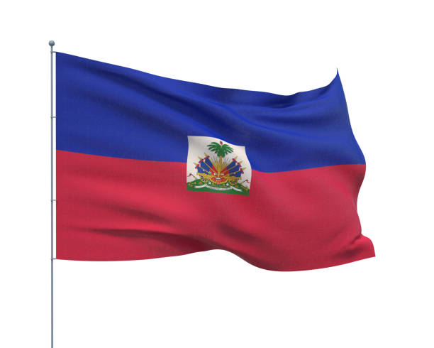 Waving flags of the world - flag of Haiti. Isolated on WHITE background 3D illustration. Isolated on white background flag of Haiti Haiti Flag stock pictures, royalty-free photos & images