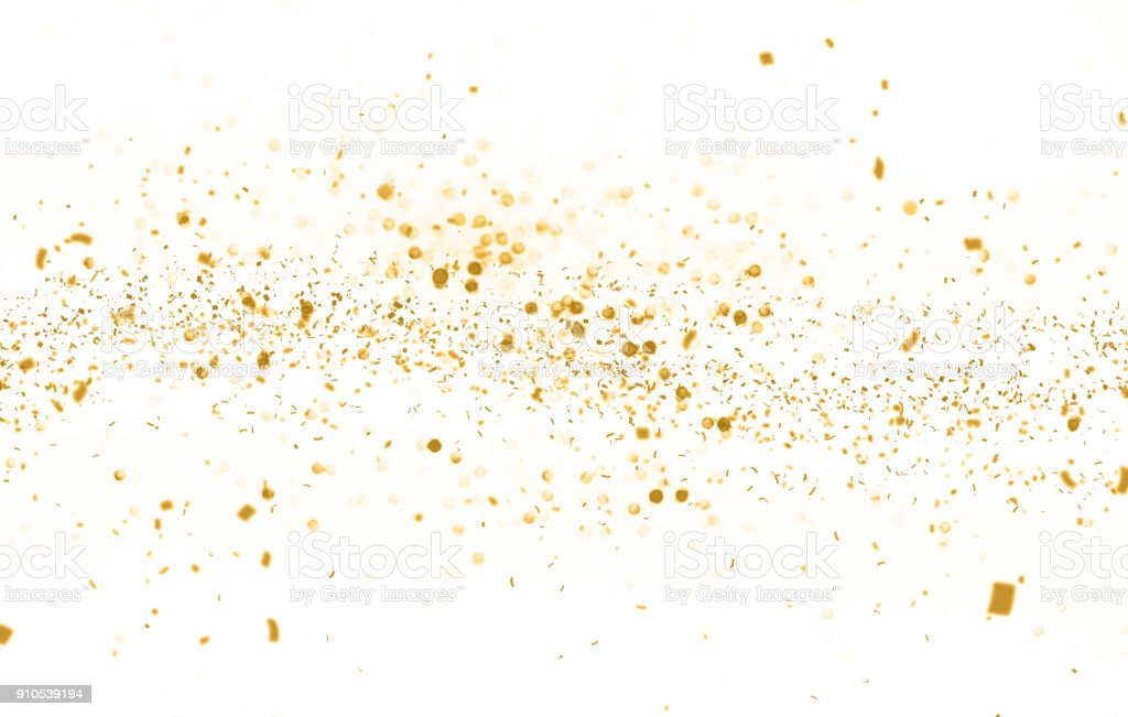 Waving golden glitter and confetti stock photo