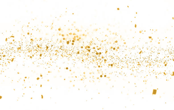 waving golden glitter and confetti - scintillante foto e immagini stock