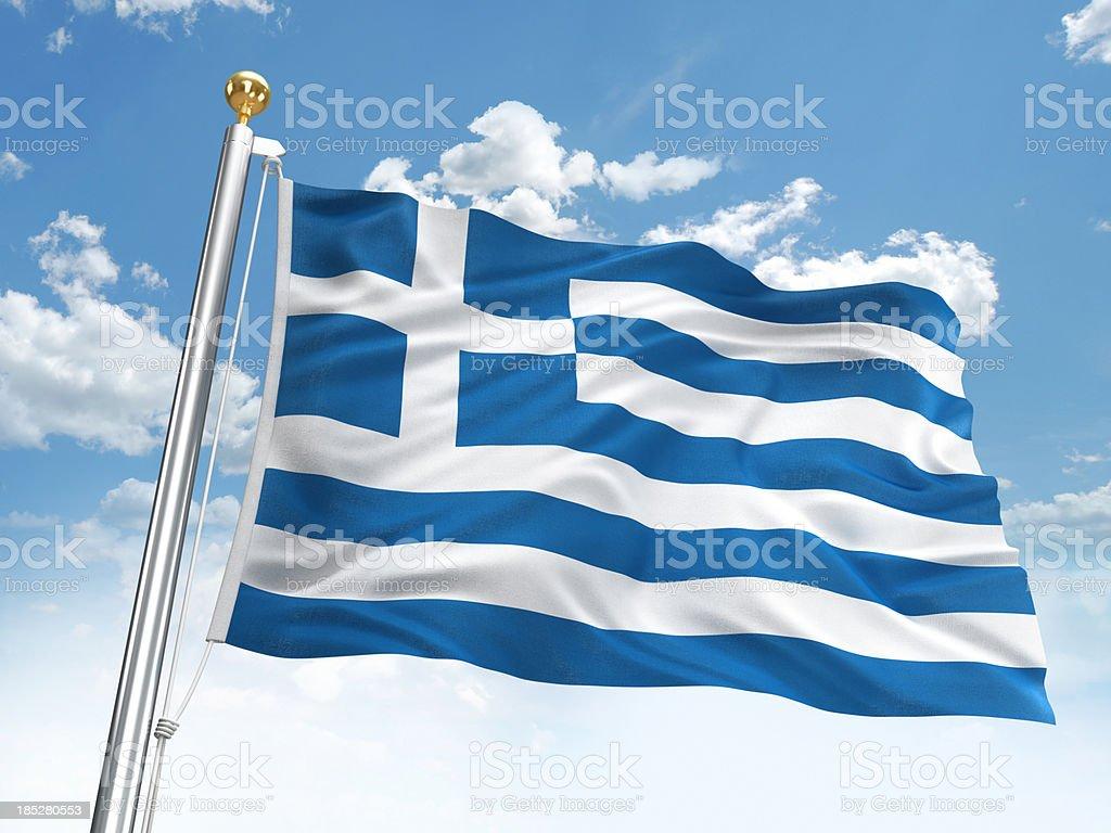 Waving Greece flag stock photo