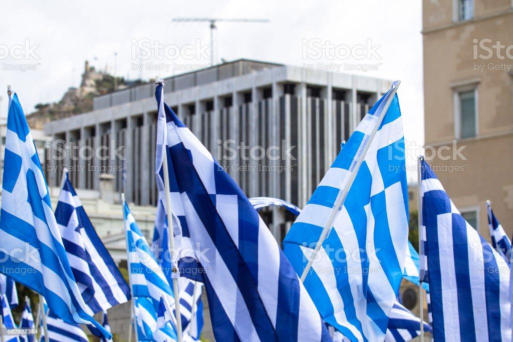 Waving Greek Flag royalty-free stock photo