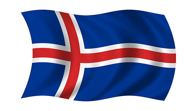 Acenando a Bandeira Islandesa - foto de acervo