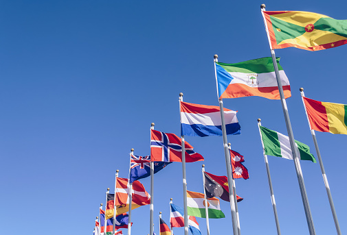 Sochi, Russia - August 9, 2015. Olympic Park. Flags of different countries on the flagpole