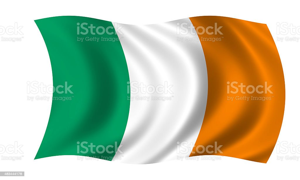 waving irish flag stock photo