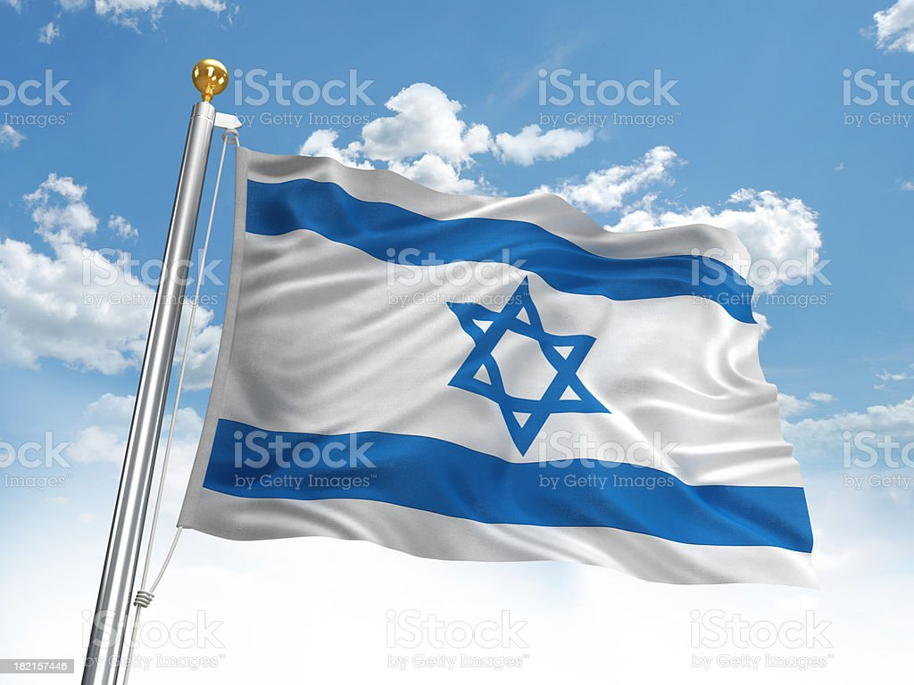 Waving Israel flag stock photo