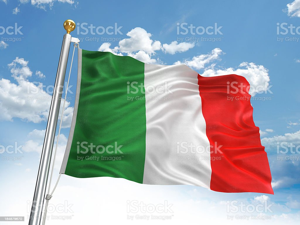 Agitando bandera italiana - foto de stock