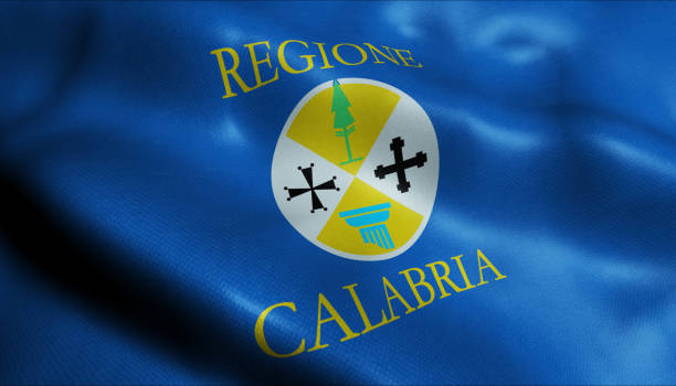 3d waving italy city  flag of calabria closeup view. - calabria map foto e immagini stock